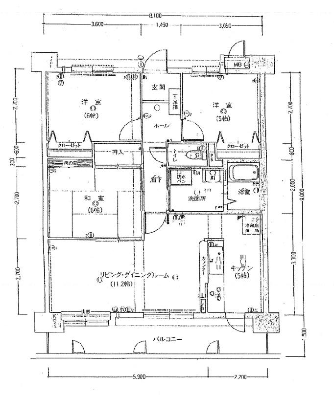 フラワーマンション神宮北307 間取り図